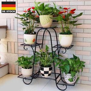 Metall Pflanzenständer mit 6 Pflanzentreppe Garten Blumenregal Blumenständer