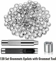 Box 100 Sets 12mm Silver Leather Grommets Eyelets + Washer Ring Punch Tools New