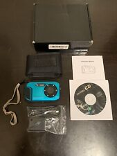 Blue Waterproof Camera, Fitiger 16MP 8X Zoom Cameras 2.7 Inch LCD 10M Underwater