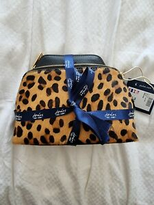 BNWT Joules Peplow Leather Womens Cosmetic Purse Gift Set - Black/ Leopard Print