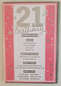 21ST  BIRTHDAY CARD  BORN IN 2000 EVENTS CARD UNIQUE TO THE YEAR YOU WERE BORN