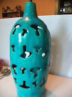 Vintage Mid Century Modern Atomic Abstract Mushroom Blue Ceramic Pierced Lamp!