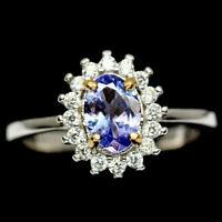 TOP TANZANITE RING : Natürliche Blau Tansanit 925 Silberring
