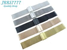 18mm Watch Bracelet Stainless Steel Multicolored 1.0mm Hard Wire Mesh Clasp Band