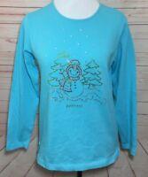Quacker Factory Womens XS Blue Blingy Snowman Holiday Top