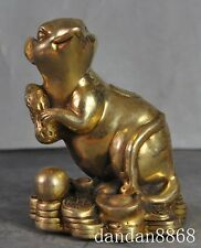 """4"""" chinese fengshui brass wealth money coin peanut mice mouse rat lucky statue"""