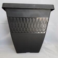 """9.75"""" SQUARE ZEN PLASTIC PLANTERS - Set of 5 BLACK - pots flower"""
