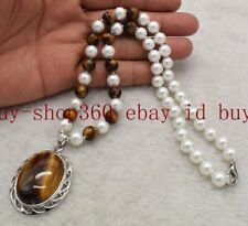 8mm Yellow Tigers Eye Gems Pendant Necklace South Sea 8mm White Shell Pearl &