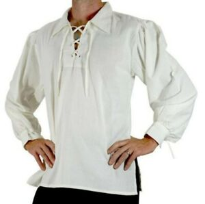 Pirate Shirt Adult Medieval Renaissance Costume Fancy Dress Viking Tunic Shirt
