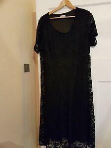 Plus Size Damart Black Lace Flared Dress Size 24
