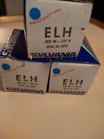 Sylvania Lot of 3 ELH Projector Lamp Bulb 300W 120v 35 hrs GTE Blue Dot FREE SHP