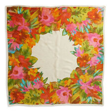 "RALPH LAUREN 100% Silk 42"" Square Floral Print Jacquard GIA Scarf Wrap • NEW"