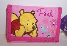 Disney WINNIE the POOH Pink TRI-FOLD WALLET Embroidered Purse Card Case NEW!!