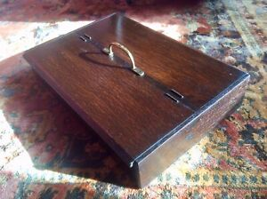 Genuine Antique Country House Oak Wood Cutlery Tray Box,Brass Handle,Lidded Case