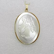 "VINTAGE GOLD TONE WHITE CARVED MOTHER OF PEARL PENDANT 1-3/4"" LONG -  LB-C0628"