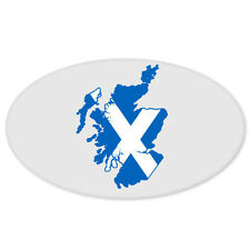 "Scotland Map Flag Oval car bumper sticker window decal 5"" x 3"""