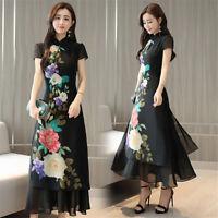 Womens Chiffon Ao Dai Dress Floral Print Cheongsam Black Gown Long Shift Dresses