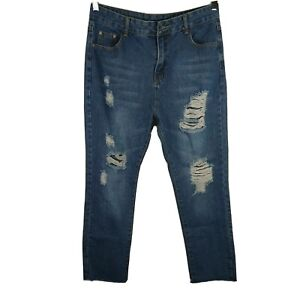 Unbranded Ripped Straight Jeans Juniors Size XL Blue Raw Hem MISSING BUTTON