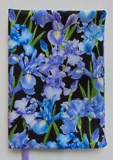 Fabric Paperback Book Cover Flower Fabric IRIS Floral Print Fabric PURPLE & BLUE