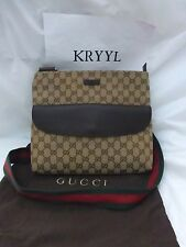 NWT Gucci Original GG Pocketed Canvas Messenger Bag w/ Signature Web Strap,Brown
