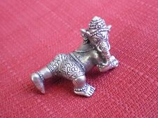 """Small White Metal Baby Ganesh Statue for Hindu Practice 1"""" High"""