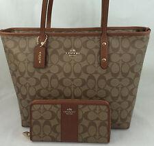 New Coach F58292 City Zip Tote Handbag Purse Shoulder Bag Khaki Saddle + WALLET