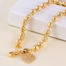 """9K 9ct Yellow """"Gold FILLED"""" Beaded Heart & Bell ANKLE CHAIN / ANKLET 10.6"""" ,Gift"""