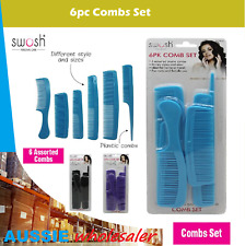 AU 6Pcs/Set Combs Beauty Salon Hair Styling Hairdressing Plastic Barbers