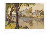 Künstlerkarte, Bäume, Häuser, See, Landschaft, Verlag K V