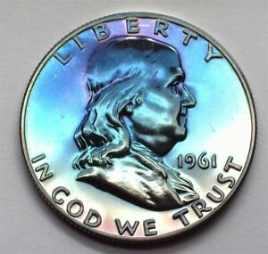 1961 FRANKLIN SILVER 50 CENTS NEAR PERFECT PROOF FANTASTIC COLOR!!
