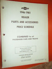 1946-1981 CHEVY DEALER PASSENGER CARS TRUCK PARTS AND ACCESSORIES PRICE SCHEDULE