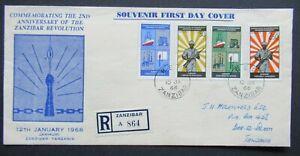 1966 REGISTERED FIRST DAY COVER ZANZIBAR TO TANZANIA GB UK B396.16 START $0.99