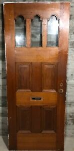 Antique Victorian Exterior Stained Wood French Entry Door /w Curved Glass 32x80