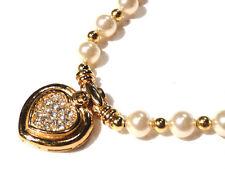 Bijou alliage doré collier haute couture coeur perles fantaisies  signé Carven