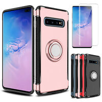 For Samsung Galaxy S10+ Plus Ring Holder Stand Case With Full Screen Protector