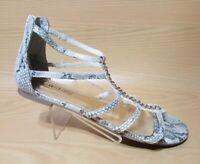 Jennifer Lopez Snake Print Womens Zip Up Heeled Sandals Shoes 6 M