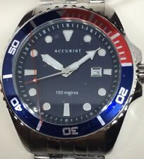 Accurist Mens Divers Watch Pepsi Dial Stainless Steel New Boxed