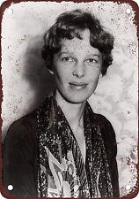 "7"" x 10"" Metal Sign - 1928 Amelia Earhart Portrait - Vintage Look Reproduction"