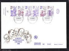 grande enveloppe 1er jour bande carnet personnages    ; 1985