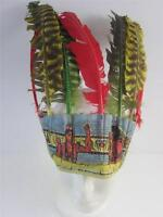 Vintage 1950's Cowboy Indian Toy Feather Headdress Hat Halloween Western Costume
