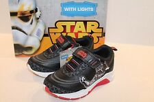 Star Wars Black & White Athletic Shoes with Lights Toddler Boy Size 7 NEW