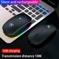 Wireless Optical Mouse Mice USB Rechargeable LED For PC Laptop Computer 5COLOR
