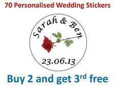 70 Personalised Wedding Stickers Rose Round Labels Label Envelopes