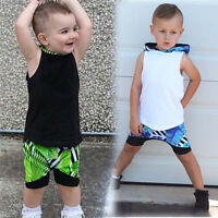 Toddler Kids Baby Boy Pullover Hooded Vest Tops+Short Pants Outfits Clothes Set