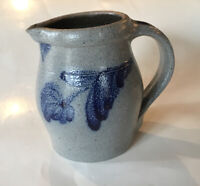 Rowe Pottery Wisconsin Salt Glaze Cobalt Decorated Stoneware Sm Pitcher Creamer