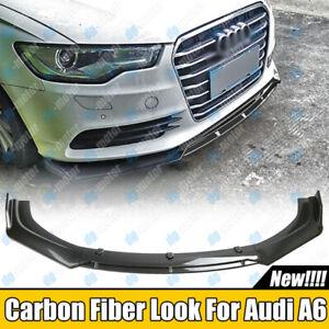 Carbon Fiber Look Front Bumper Lip Splitter For Audi Wagon A4 A6 S6 C7 Sedan