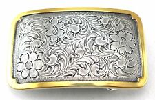 WESTERN ENGRAVED RODEO PLAQUE TROPHY BRASS & SILVER PLATED COWBOY BELT BUCKLE