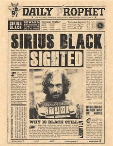 Harry Potter Daily Prophet Sirius Black Sighted Flyer/Poster Replica
