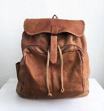 VINTAGE Tan Leather Front-Pocket Backpack