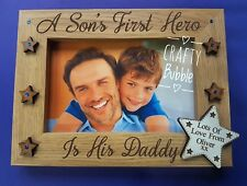 SON'S 1st hero is his Daddy engraved photo FRAME PERSONALISED GIFT